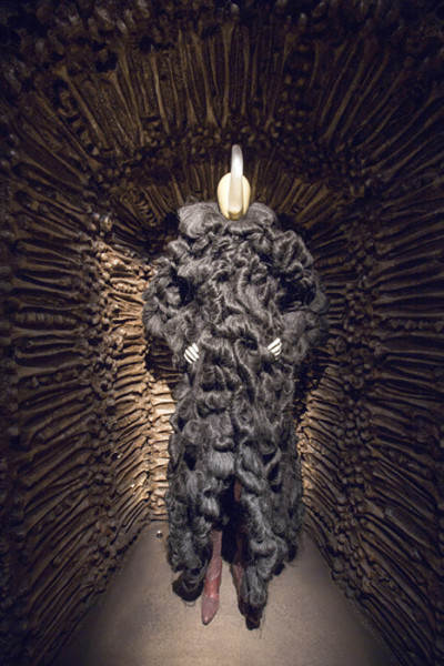 Lady Ugolino, synthetic hair, threads, 1999. Alexander McQueen Collection Installation view of 'Romantic Primitivism' gallery, Alexander McQueen: Savage Beauty at the V&A (c) Victoria and Albert Museum London (14 March - 2 August 2015)