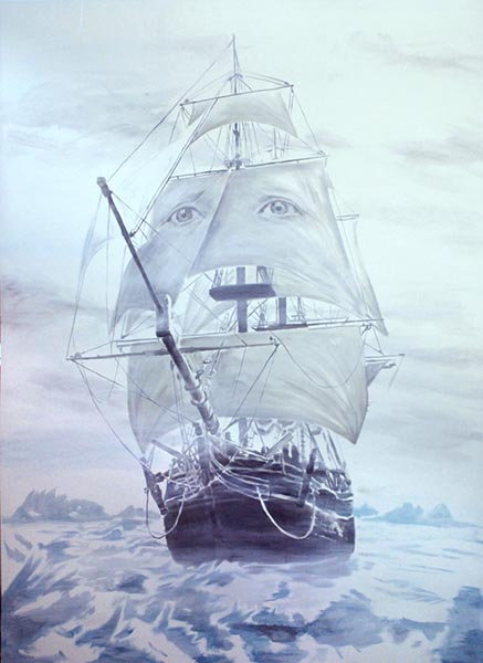 Portrait of a young man as a ship, acrylic on canvas, 280 x 380cm, 2012, image courtesy the artist, © the artist