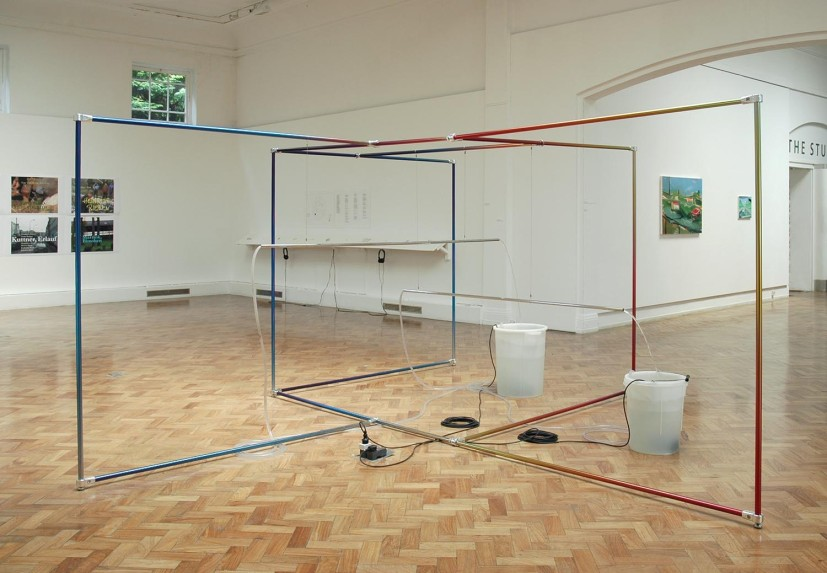 Scenic View (Waterfalls), chrome poles and fittings, printed vinyl, plastic buckets, plastic hoses, electric pumps, water, steel cable 190 x 360 x 360cm, 2011. Image courtesy the artist, © the artist