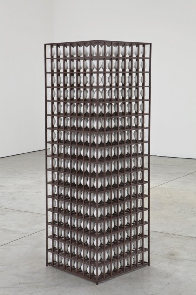 The Well, 2013, eggs, wenge, steel, 172 x 57 x 57cm. 1024 Birds eggs have been encapsulated within a wooden holding structure. © the artist, courtesy the artist and All Visual Arts.