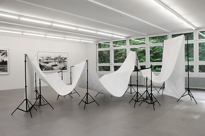 back drop, 2011, glacier protection fabric, backdrop stands, 315 x 530 x 214cm, © the artist
