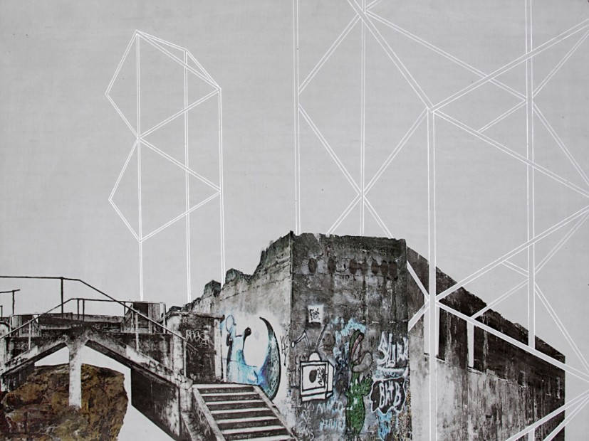 translocation.11, ink and pigment transfer on concrete board, 80 x 60 cm, 2013, © the artist