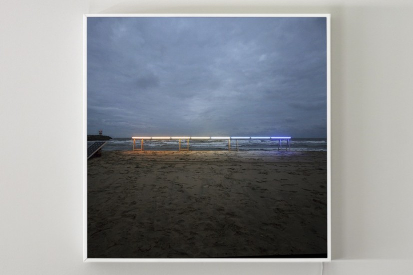 Drawing: Horizon, 2010, solar light installation, photograph with lightbox, edition of 10, 100 x 100cm, © the artist