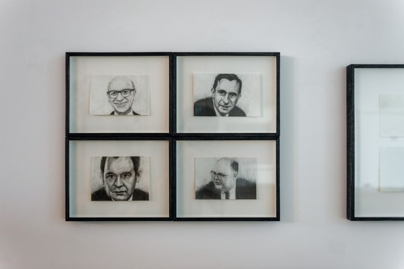 Michael Mulvihill, (clockwise from top left) The End of History (Milton Friedman), 2010; The End of History (Edward Teller), 2009; The End of History (Herman Kahn), 2008; The End of History (John von Meuman), 2009, graphite on paper, each 19 x 24.5 x 3cm (framed). Courtesy Vane and the artist. Photo: Joe Plommer