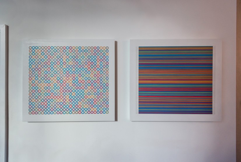 Rachael Clewlow, Seven Walks, Seven Gates in Seven Colours (Map), 2013; Seven Walks, Seven Gates in Seven Colours (Key), 2013. Both works acrylic paint and silver point on mdf board with birch ply sub-frame, 72 x 81 x 3cm. Courtesy the artist. Photo: Joe Plommer