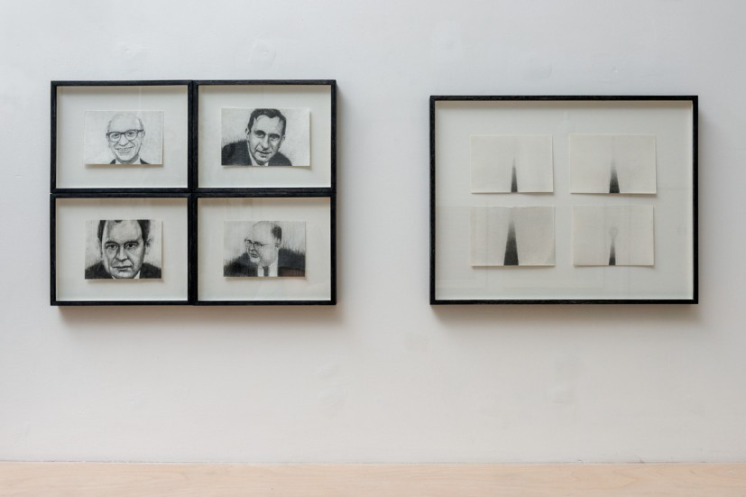 Michael Mulvihill, left: (clockwise from top left) The End of History (Milton Friedman), 2010; The End of History (Edward Teller), 2009; The End of History (Herman Kahn), 2008; The End of History (John von Meuman), 2009, graphite on paper, each 19 x 24.5 x 3cm (framed). Michael Mulvihill; right: The End of History (Alexanderplatz), 2012, graphite on paper, four framed drawings, each 10 x 14.5cm (35.5 x 45.5 x 3cm framed), courtesy Vane and the artist. Photo: Joe Plommer