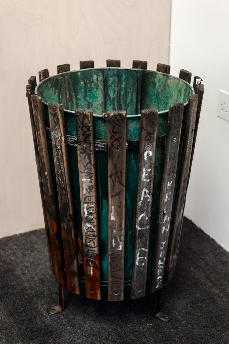Graham Dolphin, Bin (detail), 2011, wood, metal, ink, paint, material, marker pen, graphite, dirt, 66 x 45 x 45cm. Courtesy of the artist and Seventeen Gallery. Photo: Joe Plommer
