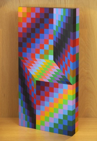 Victor Vasarely, AXO-99 (1988), edition 15/175, painted wood, h. 69.6cm. Donated to Wolverhampton Art Gallery by Eric and Jean Cass through the Contemporary Art Society, 2012