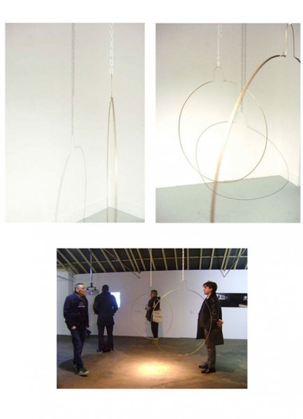 Fall into Gold, 2009, steel, enamel paint, plastic chain, glitterball, motors, dimensions variable, © the artist