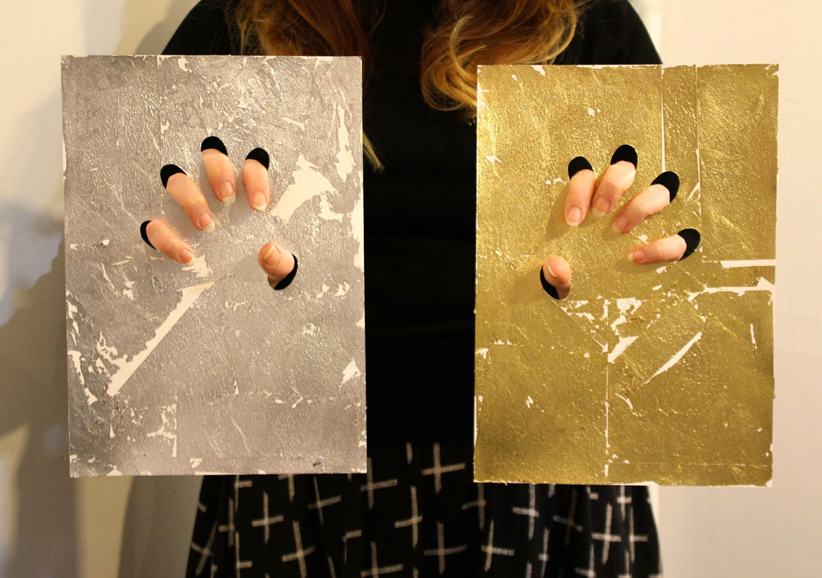 I Like The Silver, I Like The Gold, 2013, gold and silver leaf on paper, © the artist