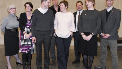 The winners of the Contemporary Art Society's Annual Award, Commission to Collect 2010 From left to right Corinne Miller (Director, Wolverhampton Art Gallery), Marguerite Nugent (Wolverhampton Art Gallery), Luke Fowler, Steven Bode (Director, Film and Video Umbrella), Dr Samantha Lackey (The Hepworth Wakefield), Minister Ed Vaizey, Frances Guy (The Hepworth Wakefield), Simon Wallis (Director, The Hepworth Wakefield), photo: Matthew Blaney