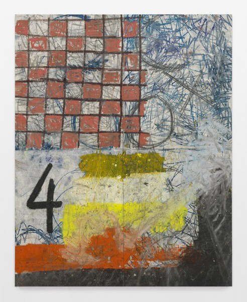 Oscar Murillo, four, 2013. Oil paint, oil stick, and graphite on canvas, 100 1/2 x 80 5/8 inches (255.3 x 204.8 cm). Courtesy David Zwirner, New York/London