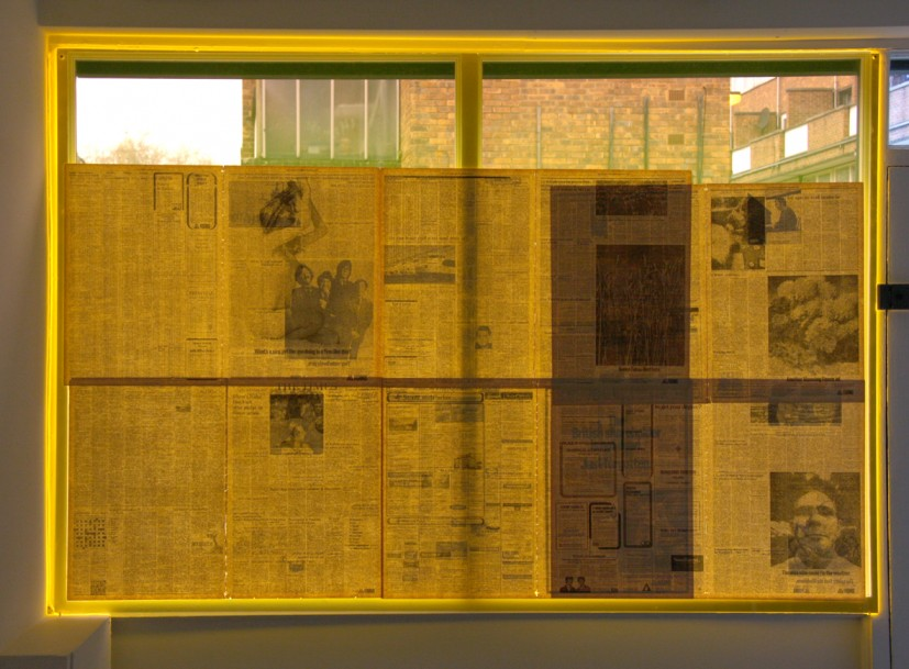 Vivien Neves, newspaper on perspex, 2007, ©  the artist