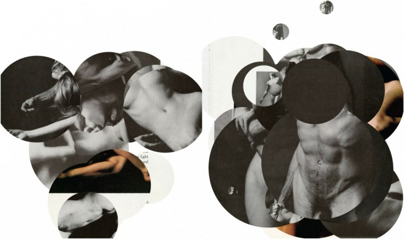 DICK AND TINA, JACK, PATSY, BENTON, HELEN, ROSANNE, GEORGE HESTER (1973) 2013 .......................... ( a collage of found piled images all removed from a 1973 book THE CLASSIC NUDE by George Hester) , 2013, © the artist