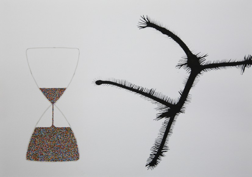 The Hourglass (2), 2013,  felt tip and ink on paper, 29.6 x 21cm, © the artist