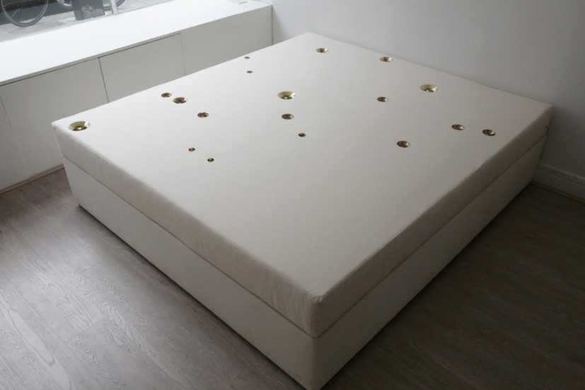 Field (Andromeda – 1), 2010, foam mattress, brass bells, bed base, 200  x 180 x 48cm, image courtesy the artist, Green Cardamom and La Caja Blanca Gallery, photo Tamir Addadi, © the artist