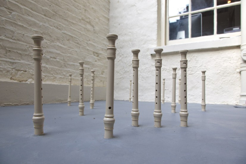 Field (Perseus), 2010, plastic recorders in cement floor, 324.5 x 181 x 26cm, ediiton of 3 +1AP, image courtesy the artist and Green Cardamom, photo Vipul Sangoi