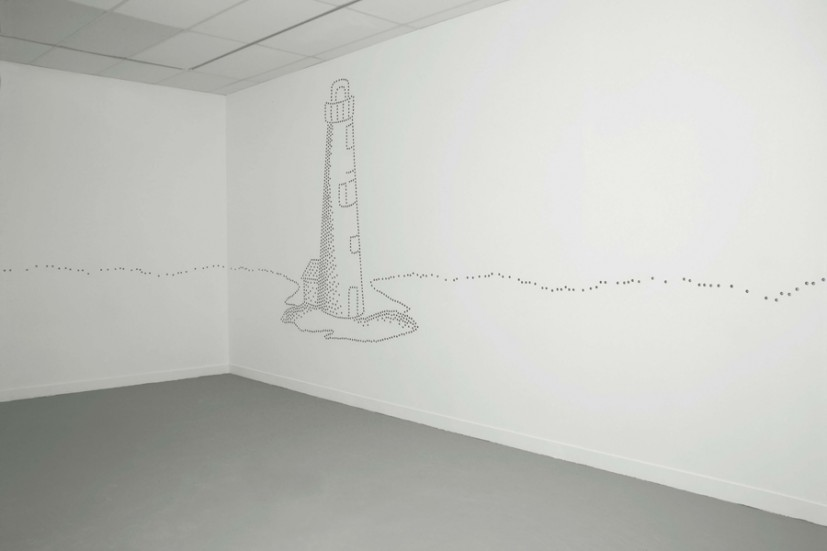 Lighthouse, metal thimbles in plaster wall, dimensions variable, edition of 3 +1AP,  image courtesy the artist and The Haifa Museum of Art, photo Ariel Warhaptig, © the artist