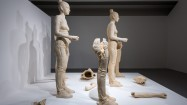 Simon Fujiwara, Rebekkah (2012), five figures, from an edition of 3 (+ 2AP), terra-cotta dyed, life sized, cast plaster female figures with accompanying video (7mins 33 secs). Photo: Joe Plommer