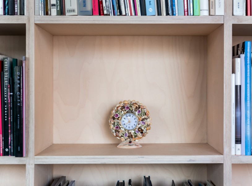 Pio Abad, Seashell decorated desk clock featuring the profile and insignia of Imelda Marcos given to and promptly rejected by my father as a Christmas present in 2010, 2012, Seashells, adhesive, desk clock, 16.5 x 3.5 cm x 8 cm, Unique, Collection the artist. Photo: Joe Plommer