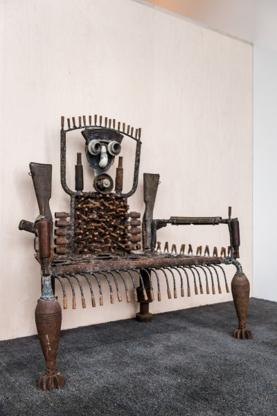 Gonçalo Mabunda, Reciter of Reality Throne, 2013, Decommissioned welded arms, 98 x 99 x 55cm, Unique, Collection of Midge Palley. Photo: Joe Plommer