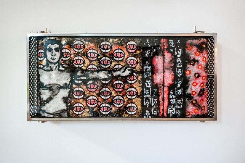 Alfred Tarazi, A Walk Through History, 2012, 45 x 100 x 20 cm, Acrylic, ink, silver, gold leaf on paper in a glass and aluminium box, Collection of Midge Palley. Photo: Joe Plommer