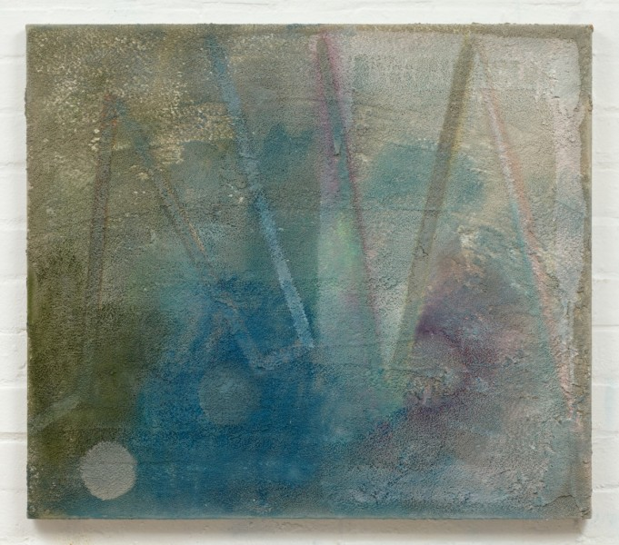 Phoebe Unwin, Concrete Ball, 2012, Acrylic, powder pastel and acrylic pumice gel on canvas, 70.3 x 80.5 cm, © the artist. Courtesy the artist and Wilkinson Gallery