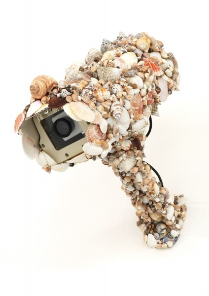 Pio Abad, Decoy I, 2012, dummy CCTV camera, seashells, adhesive, 40 x 45 x 25cm, unique. Image courtesy the artist, © the artist