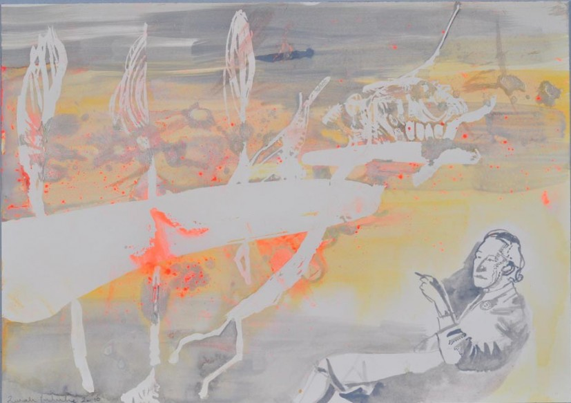 Sarah Pickstone, Bowen Smokes, watercolour and pigment on paper, 2010. Image courtesy Mercer Art Gallery, © the artist