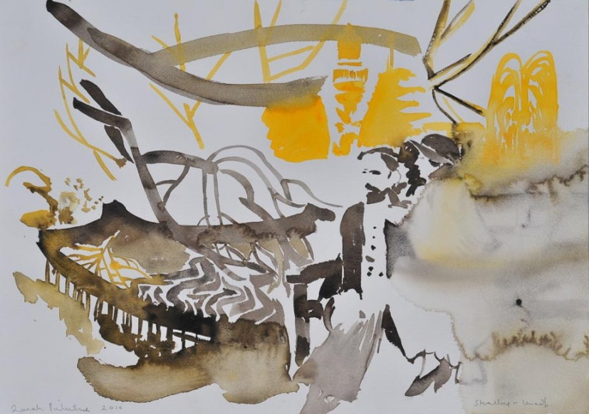 Sarah Pickstone, Strachey and Woolf, watercolour on paper, 2010. Image courtesy Mercer Art Gallery, © the artist