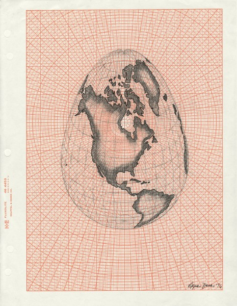 Agnes Denes, Isometric Systems in Isotropic Space – Map Projections: The Egg, 1974–76. Collection of Agnes Gund, New York