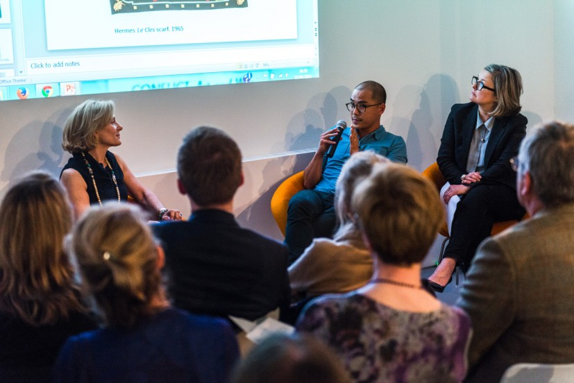 Seminar - Spotlight on Contemporary Collectors: CONFLICT: Art and War with Midge Palley, Caroline Douglas and Artists Pio Abad and Mark Neville. Photo: Joe Plommer