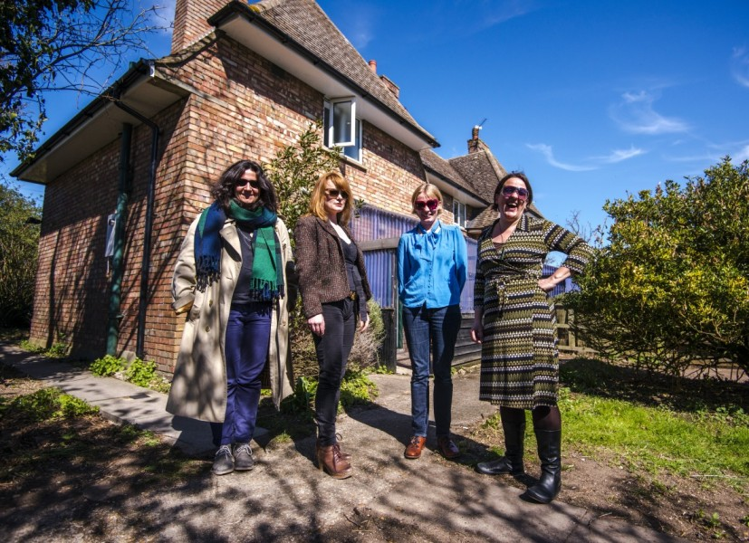 North West Cambridge Artists in Residence 2013 - 2014. From left: Hannah Rickards, Karen Guthrie, Nina Pope and Tania Kovats