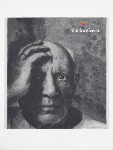 Matthew Darbyshire, Think Different (1990's), 2014, hand-painted inkjet inks on fibre paper and linen, 80 x 90cm. Image courtesy Herald St, London.