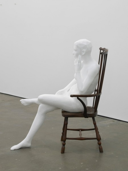 Matthew Darbyshire, Seated Nude, 2014, polystyrene and 20th century Windsor chair, 125 x 95 x 100cm. Image courtesy Herald St, London.