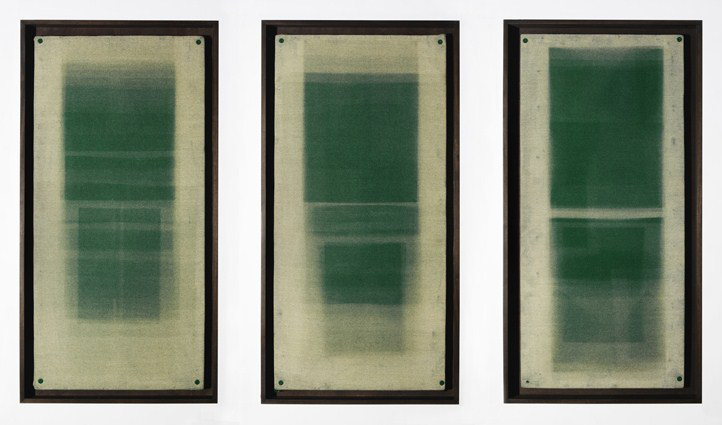 Forms in Green, Hackney, Triptych, unique photograms, 100 x 50 x 5cm, 2012, © the artist