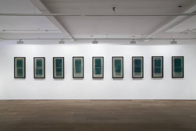 Forms in Green, Hackney (installation view), unique Photograms, 100 x 50 x 5cm, 2012, © the artist