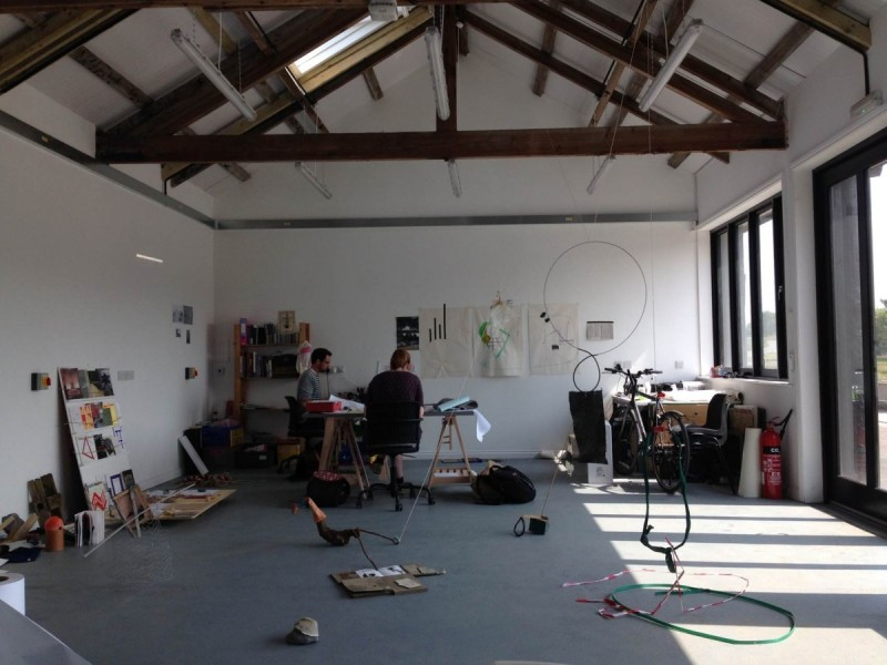 Artist studio provided for North West Cambridge habitation residency programme, interior view with Aid & Abet in situ, 2014, photo: Joe Plommer