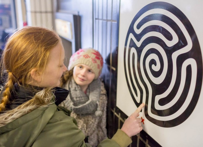Mark Wallinger, Labyrinth, 2013. Artwork encounter at Embankment with young people from Epic CiC, who worked with artist Harold Offeh on Transporter. Photograph: Benedict Johnson