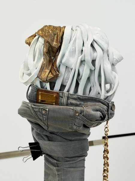 Wish List (detail), 2013, wood, photocopies, bootleg stonewash grey jeans, knee-high leather boot cuff, paint, ceramic, backless gold top, resin, enamel, print, talc, mirror, chain, MDF, 172 x 65 x 80cm. Photo: Anna Arca, © the artist