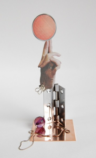 Sketch (20), 2009, collage, card, copper, silver chain, hinge, plastic, clip, 9 x 10 x 20cm. Image courtesy the artist, © the artist