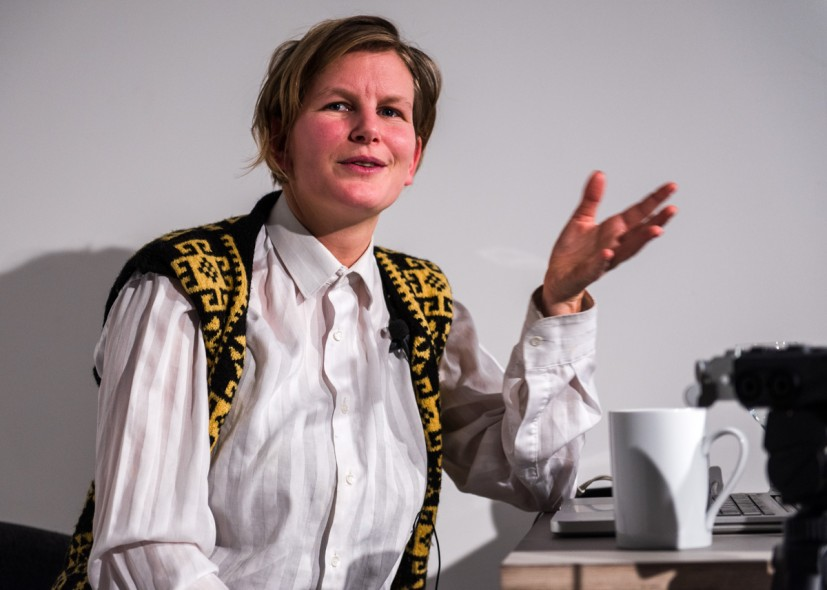 Laure Prouvost discusses her work at the Contemporary Art Society as part of the DISPLAYS programme at 59 Central Street on 12 December 2013 (photo: Joe Plommer).