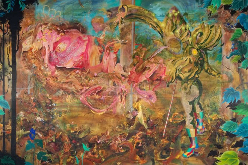 The Somnabulistics, acrylic on linen, 225 x 150cm, 2012.  Image courtesy the artist and Man&Eve, London, © the artist.
