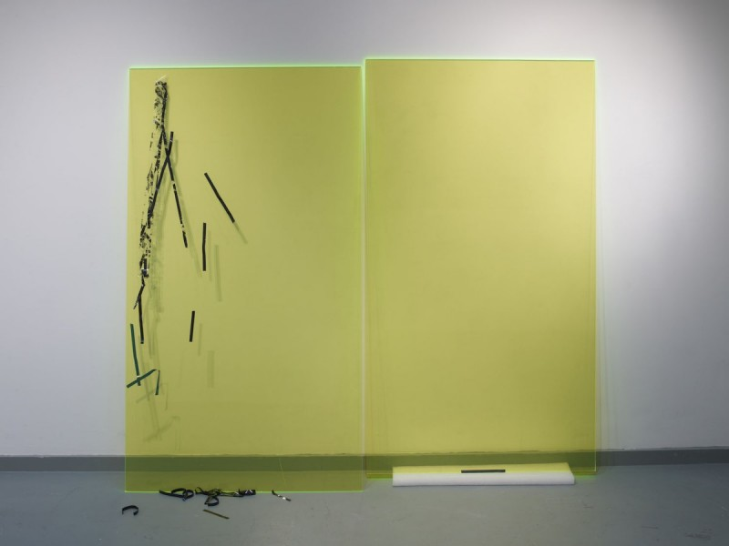 Misery # 2 (Acid Green), 2012, cellotape and VHS tape on plexiglass and foam, 200 x 180cm. Image courtesy the artist and Workplace Gallery, UK. © the artist