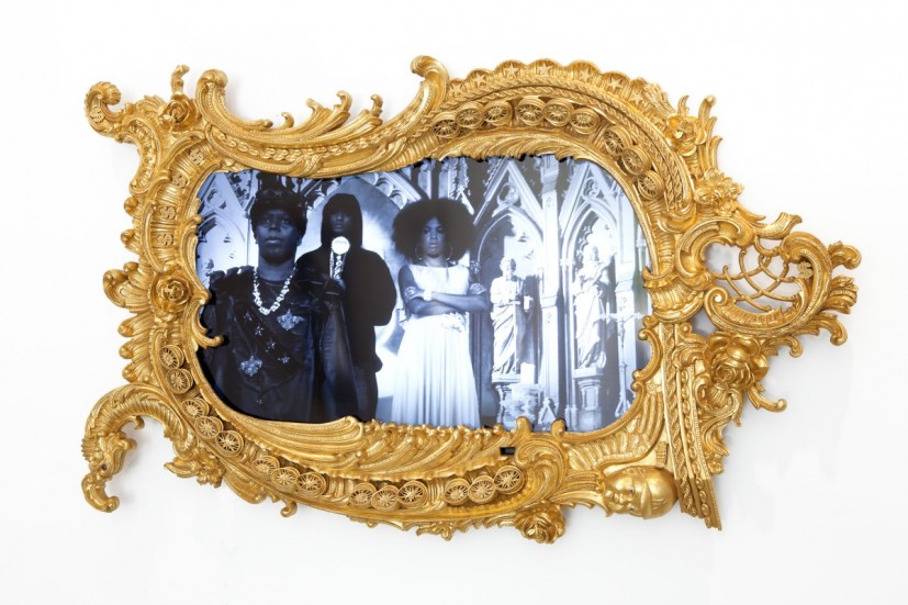 Rashaad Newsome, Herald, 2011, hand-carved mahogany frame with gilding, HD LED television, speakers 260 x 160cm. Image courtesy Carroll / Fletcher © the artist