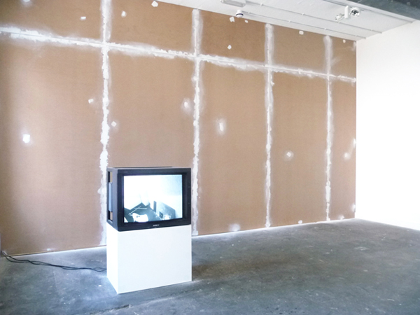 Noel Clueit, document/monitor (2011), MDF, polyfiller, plinth, CRT monitor, various artworks, 3 channel camera system. Installation view at CRATE, Margate, UK. Courtesy of the artist