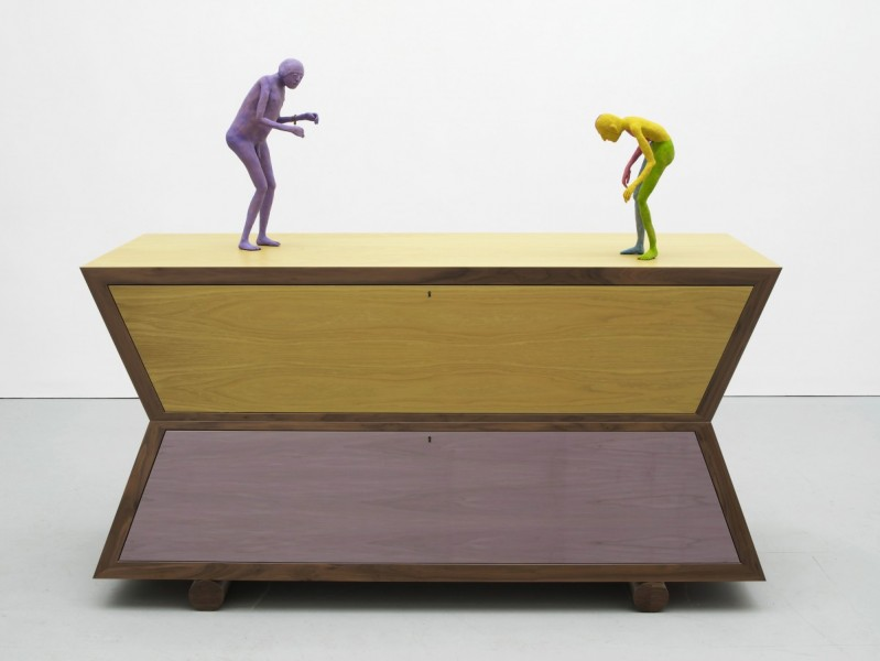 Echo Cabinet, 2011, Veneer and Italian oak, brass fittings, modelling material, wire, paint, 99.5 x 190 x 65 cm