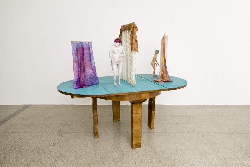 Lake, 2010, Found table, paint, brass rail, silk scarves, 157 x 185 x 110 cm