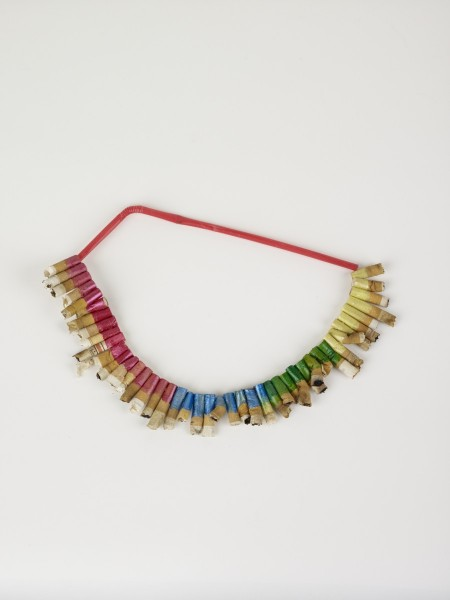 Lip Sticked Necklace, 2009, Cigarettes, plastic straw, 16 x 29 x 13 cm