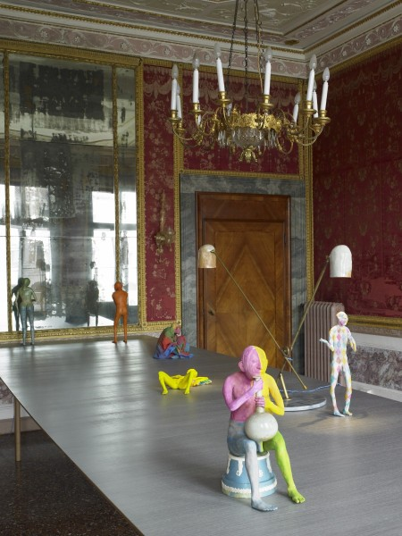 Long, 2009, Installation view Save Yourself, 53rd Venice Biennale, table Italian walnut & veneer Tabu grey; figures modelling material, wire, paint lamp ceramic, brass; appears with figures Pleader, Tasha, Richard, Harlequ